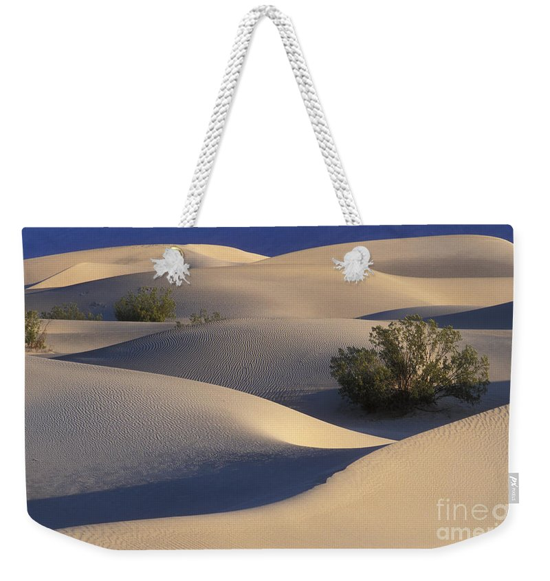 Death Valley National Park Weekender Tote Bag featuring the photograph Morning In Death Valley Dunes by Sandra Bronstein
