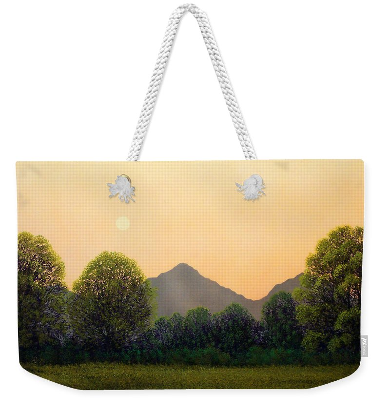 Landscape Weekender Tote Bag featuring the painting Morning Light by Frank Wilson