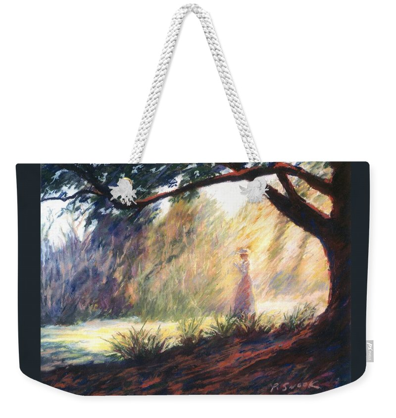 Woman Meditating Tree Park Outdoor Weekender Tote Bag featuring the pastel Morning Meditation by Pat Snook