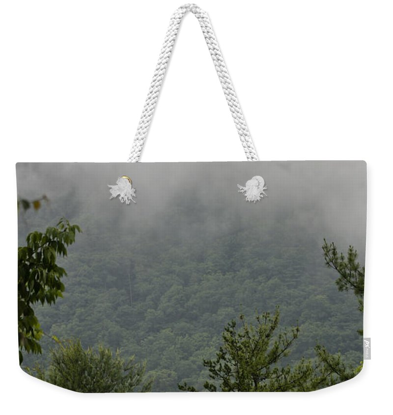Bluestone Weekender Tote Bag featuring the photograph Morning Mist Bluestone State Park West Virginia by Teresa Mucha