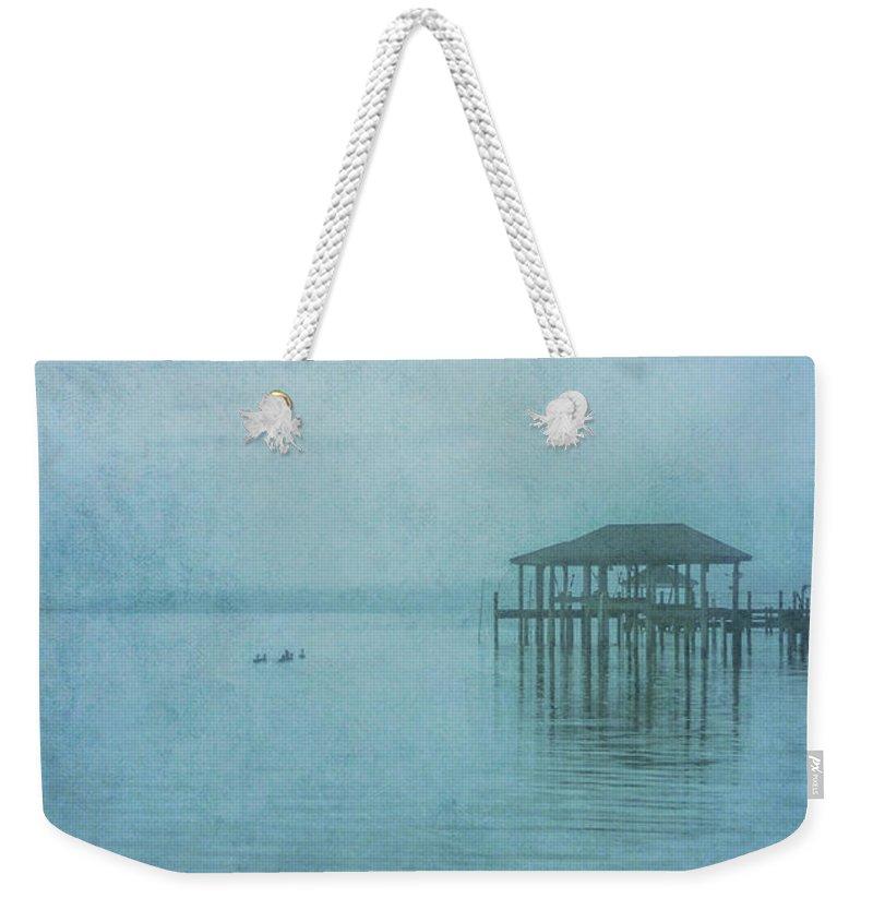 Morning Mist In Blue Weekender Tote Bag featuring the digital art Morning Mist In Blue by Randy Steele