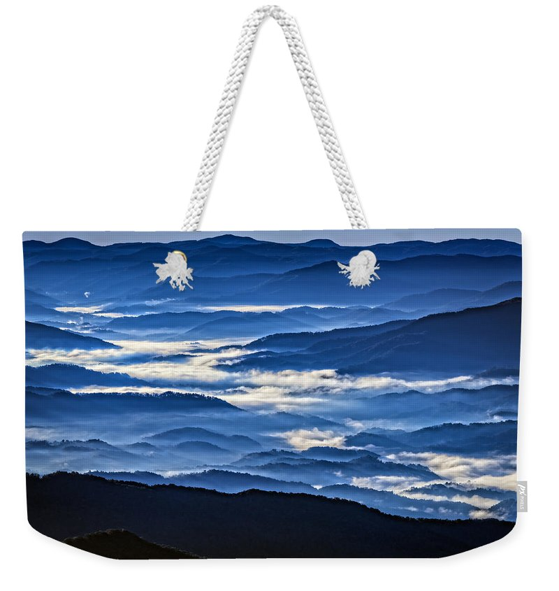 Great Smoky Mountains National Park Weekender Tote Bag featuring the photograph Morning Mist In The Smokies by Rick Berk