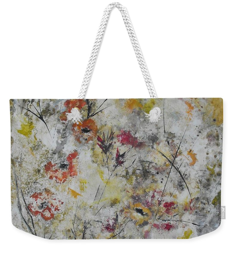 Abstract Weekender Tote Bag featuring the painting Morning Mist by Ruth Palmer