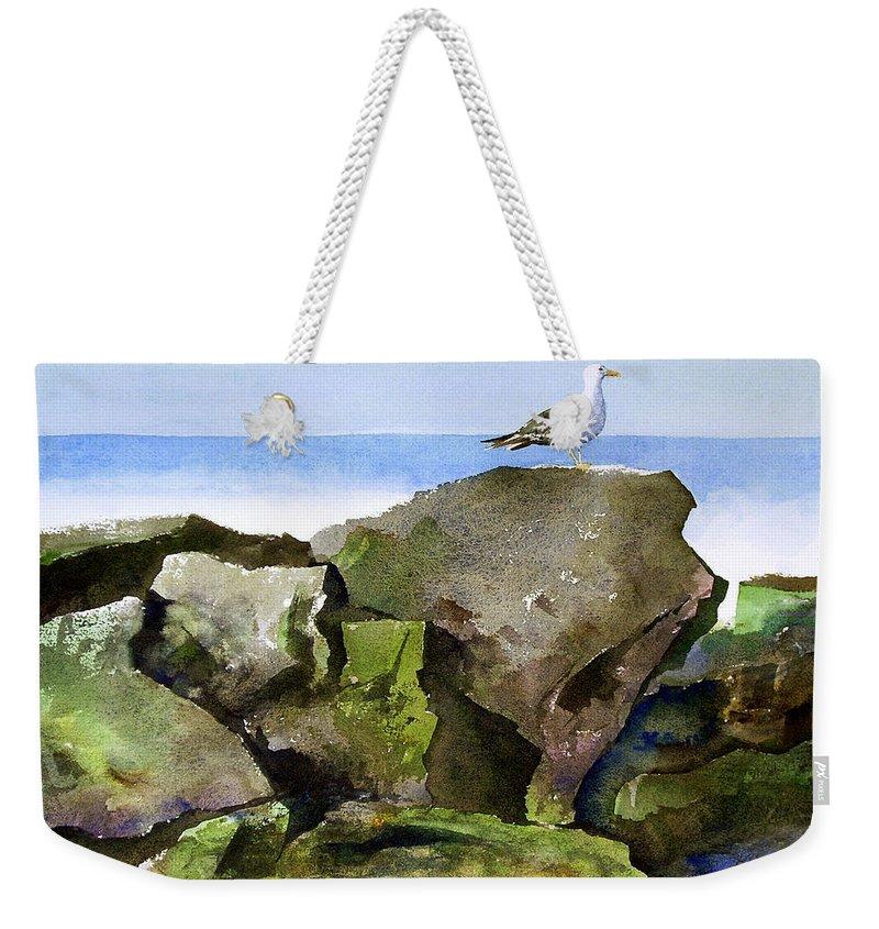 Birds Weekender Tote Bag featuring the painting Morning Monarch by Lee Klingenberg