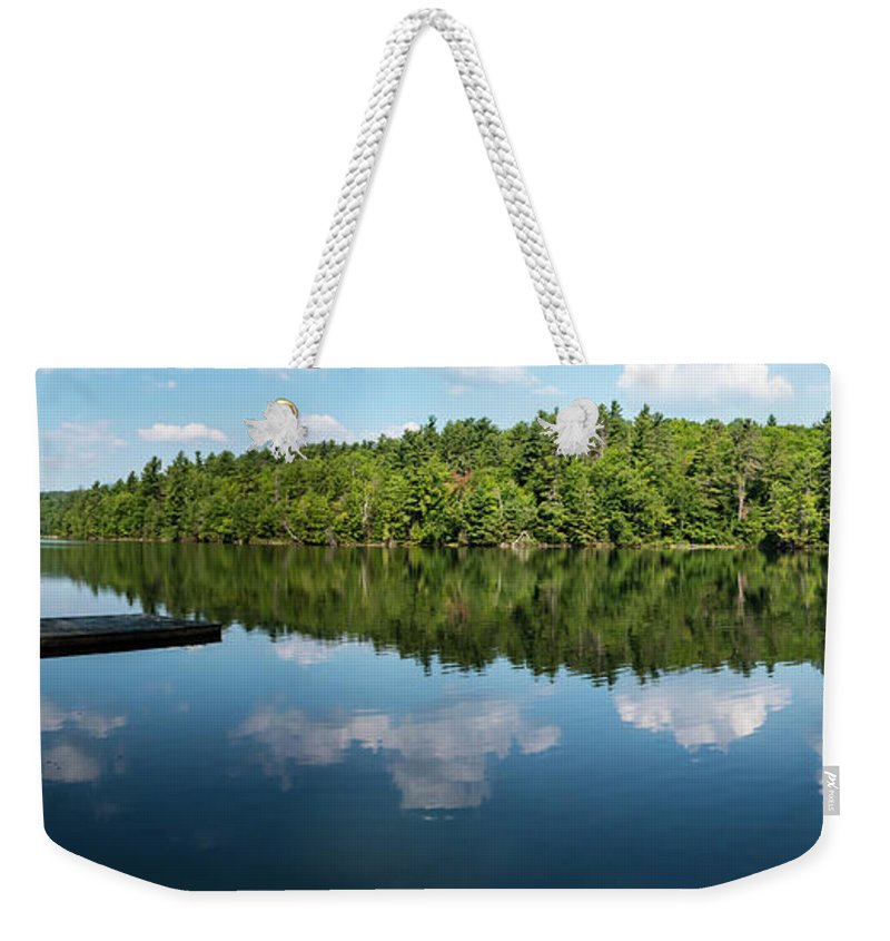 Pond Weekender Tote Bag featuring the photograph Morning On Lincoln Pond by Beth Phifer
