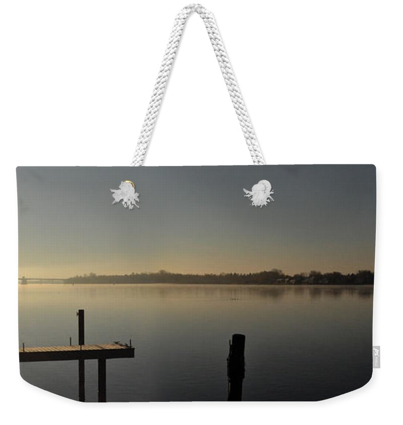 Water Weekender Tote Bag featuring the photograph Morning On The Bay by Tim Nyberg
