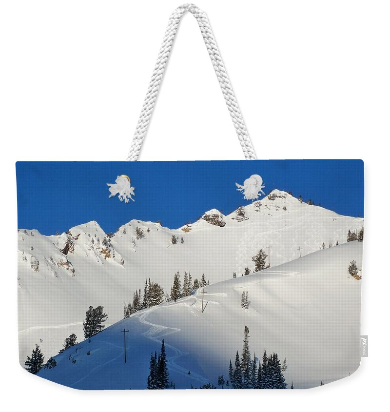 Ski Weekender Tote Bag featuring the photograph Morning Pow Wow by Michael Cuozzo