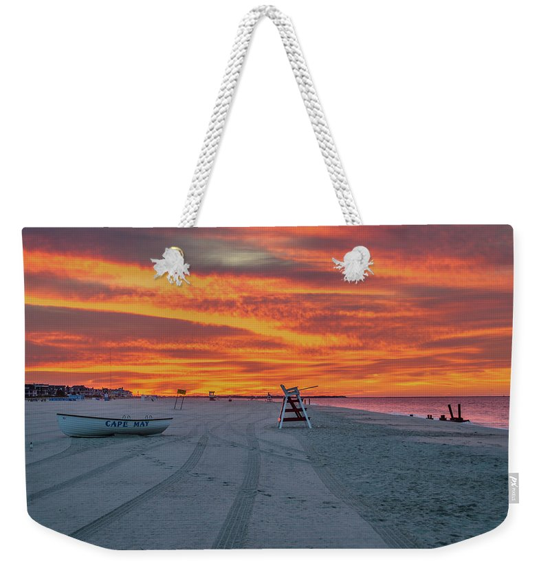 Morning Weekender Tote Bag featuring the photograph Morning Red Sky At Cape May New Jersey by Bill Cannon