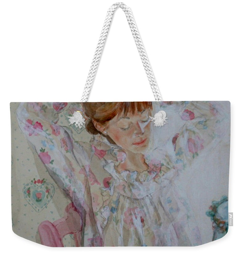 Morning Weekender Tote Bag featuring the painting Morning Ritual by Jean Blackmer