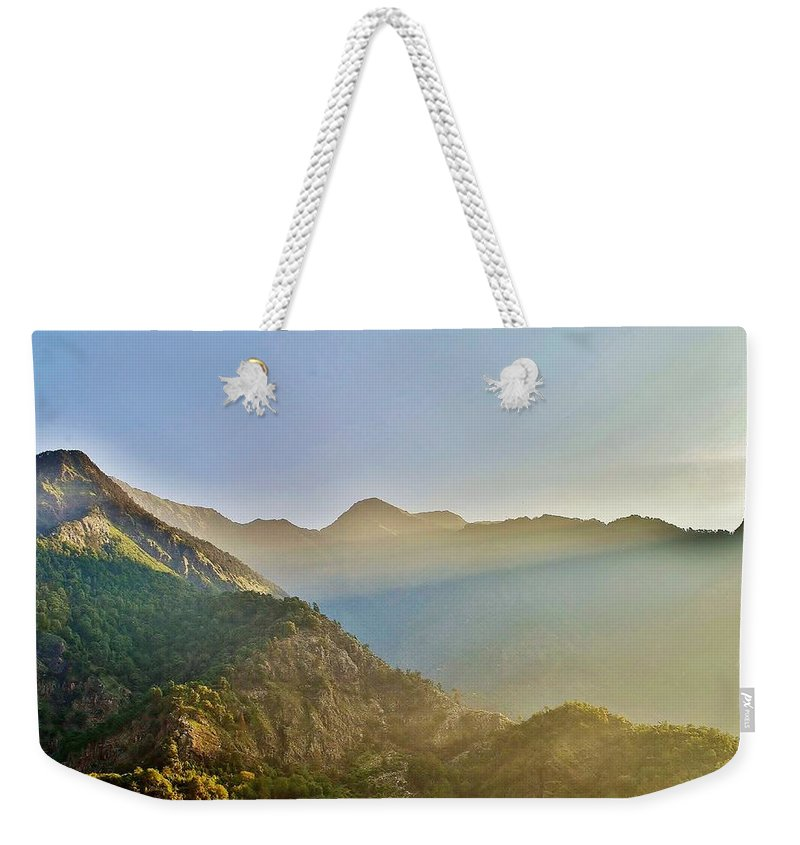 Sunrise Weekender Tote Bag featuring the photograph Morning Shadows In The Himalayas by Kim Bemis