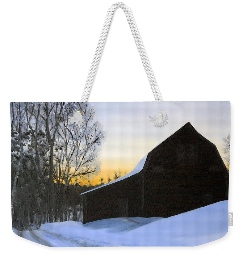 Sunrise Weekender Tote Bag featuring the painting Morning Solitude by Mary Tuomi