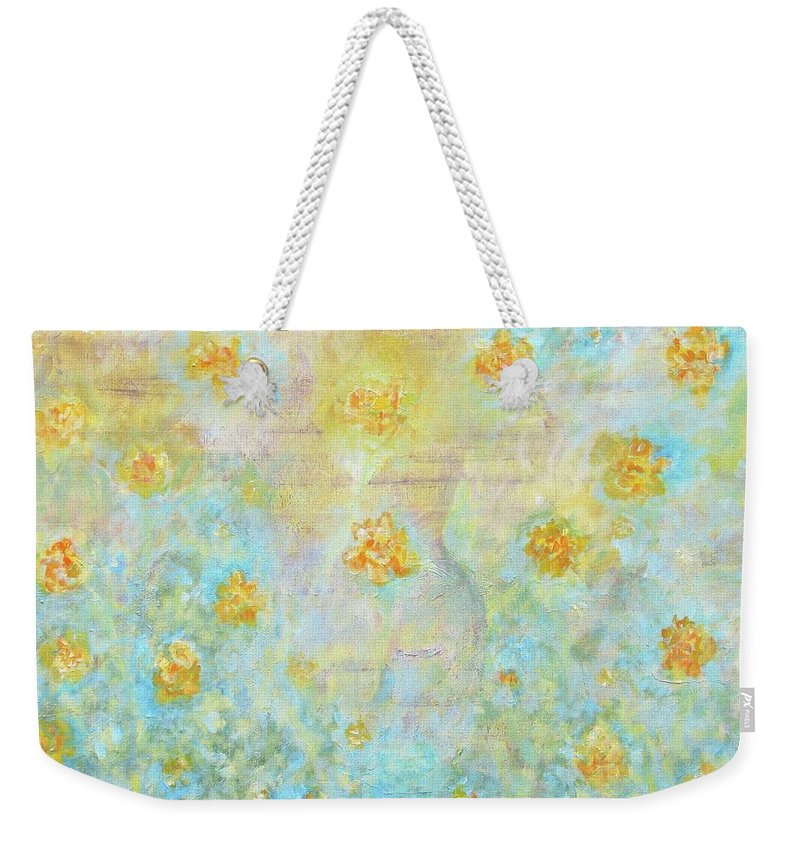 Landscape Weekender Tote Bag featuring the painting Morning Spring by Ishwar Malleret