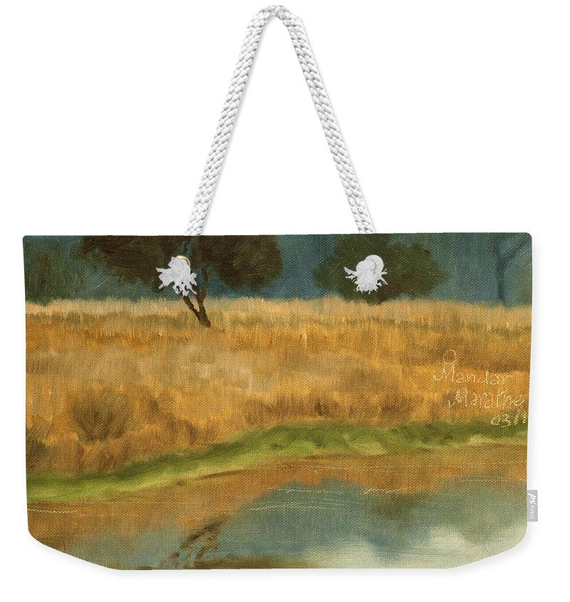 Landscape Weekender Tote Bag featuring the painting Morning Still by Mandar Marathe