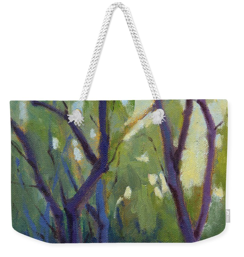Trees Weekender Tote Bag featuring the painting Morning Stroll by Konnie Kim