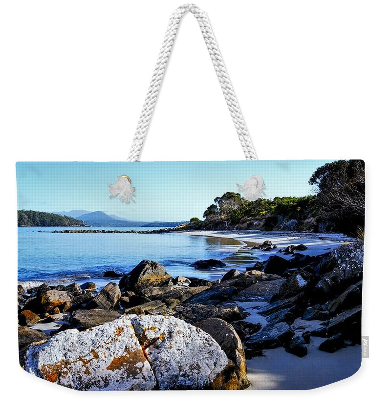 Tantalizing Tasmania Series By Lexa Harpell Weekender Tote Bag featuring the photograph Morning Sun - Fishers Point, Tasmania by Lexa Harpell