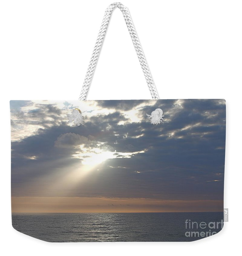 Sky Weekender Tote Bag featuring the photograph Morning Sunburst by Nadine Rippelmeyer
