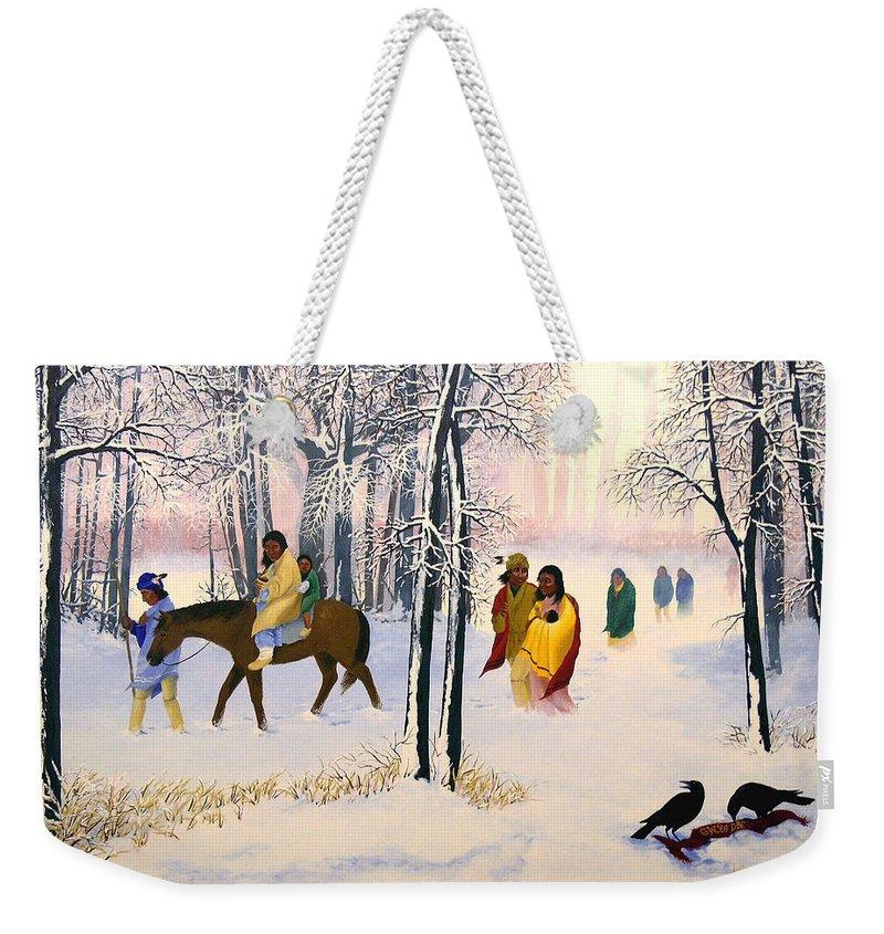 Cherokee Weekender Tote Bag featuring the painting Morning Tears by John Guthrie