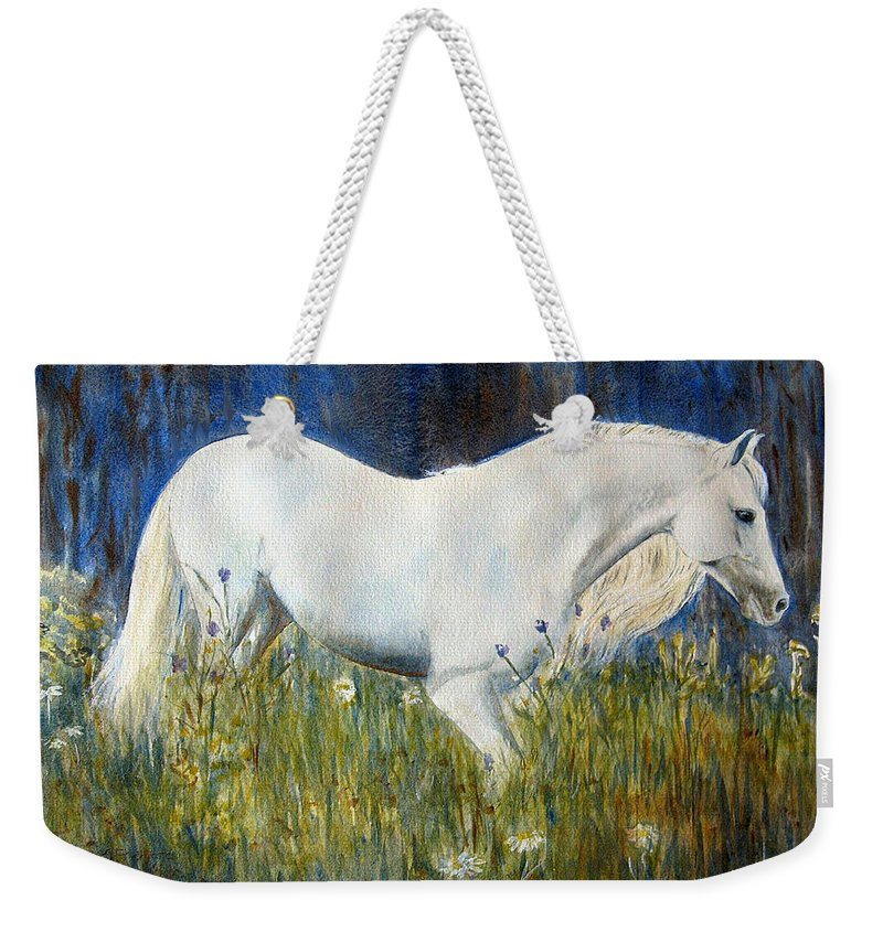 Horse Painting Weekender Tote Bag featuring the painting Morning Walk by Frances Gillotti