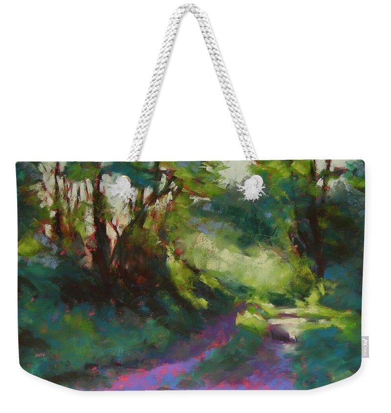 Pastel Weekender Tote Bag featuring the painting Morning Walk II by Mary McInnis