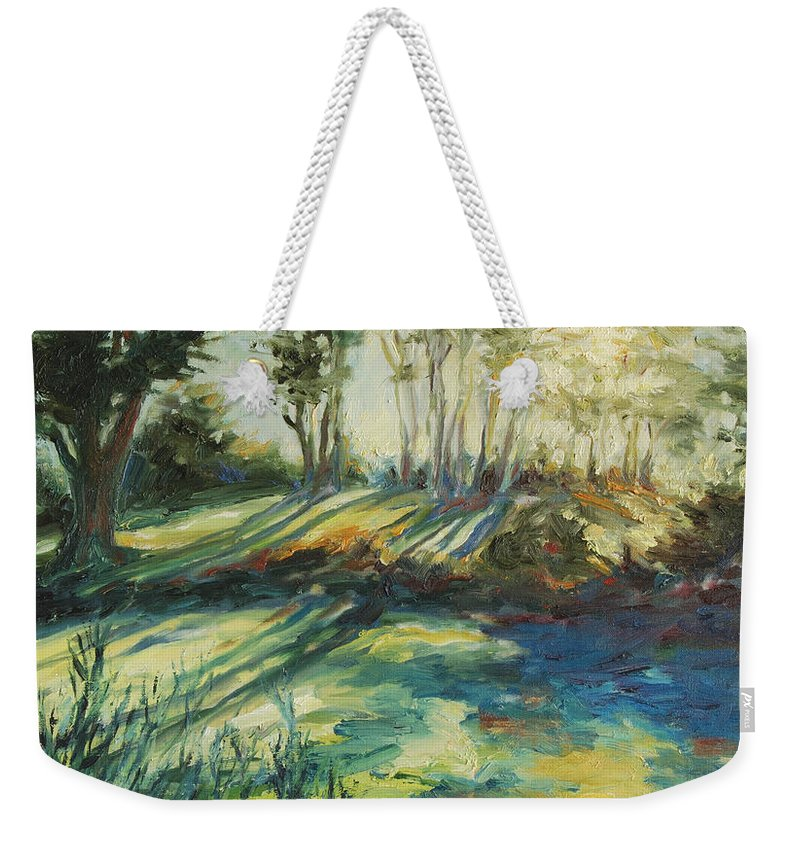 Sunrise Weekender Tote Bag featuring the painting Morning Walk by Rick Nederlof
