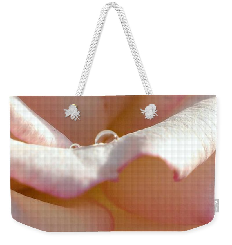 Rose Weekender Tote Bag featuring the photograph Mornings Water Droplets by LKB Art and Photography