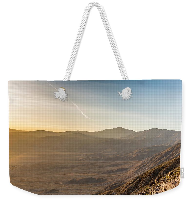 Desert Weekender Tote Bag featuring the photograph Morongo Valley From On High by Tyler Krol