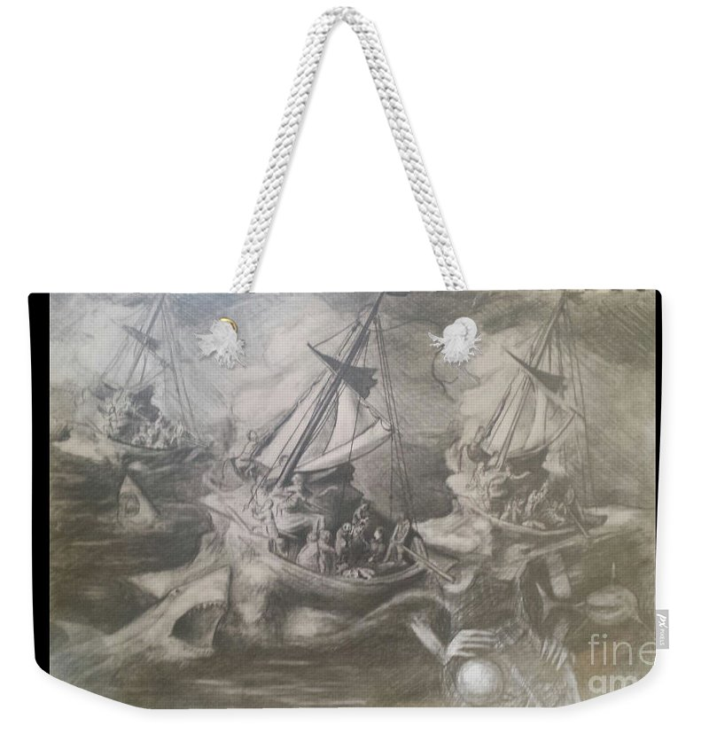 Invisible Lady Weekender Tote Bag featuring the drawing Morphological Echo At Sea by Jude Darrien