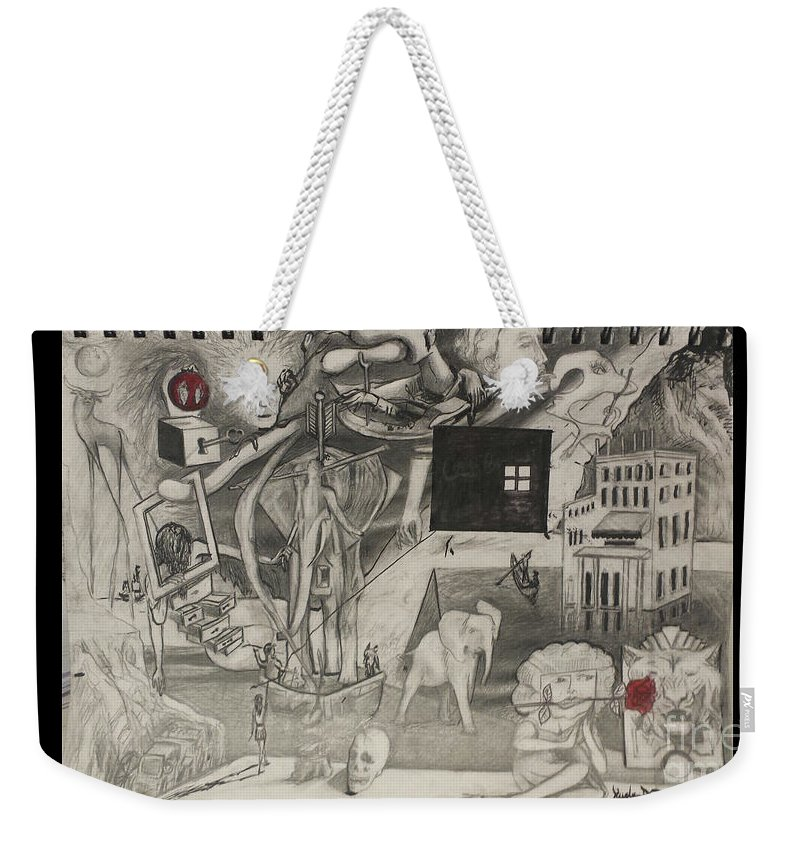 Surreal Pop Weekender Tote Bag featuring the drawing Morphology Of Time And The Omniscient Galactic Swimmer by Jude Darrien