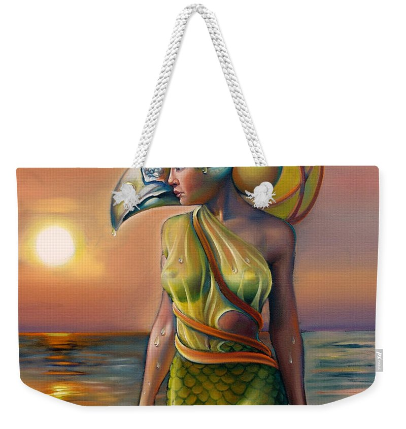 Mermaid Weekender Tote Bag featuring the painting Morrigan's Mask by Patrick Anthony Pierson