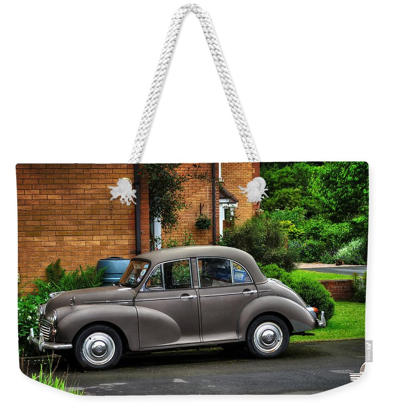 Morris Weekender Tote Bag featuring the photograph Morris Minor by Pennie McCracken