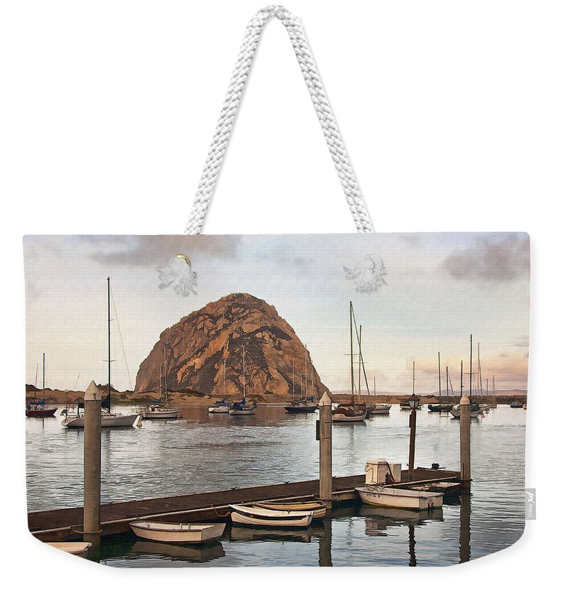 Morro Bay Weekender Tote Bag featuring the digital art Morro Bay Small Pier by Sharon Foster