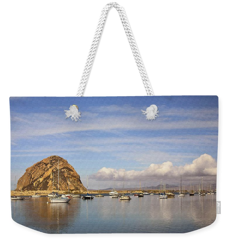 Morro Bay Weekender Tote Bag featuring the digital art Morro Harbor And Rain Clouds by Sharon Foster