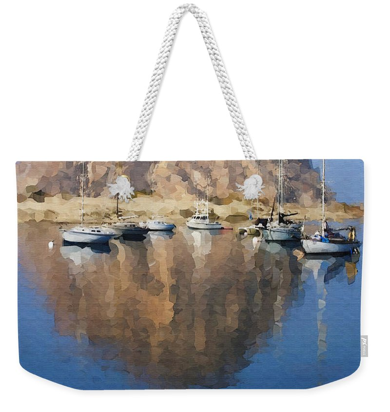 Boat Weekender Tote Bag featuring the photograph Morro Harbor by Sharon Foster