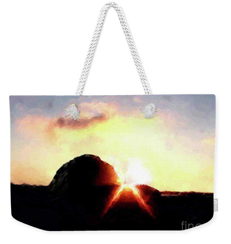 Morro Rock At Sunset Weekender Tote Bag featuring the painting Morro Rock At Sunset by Methune Hively
