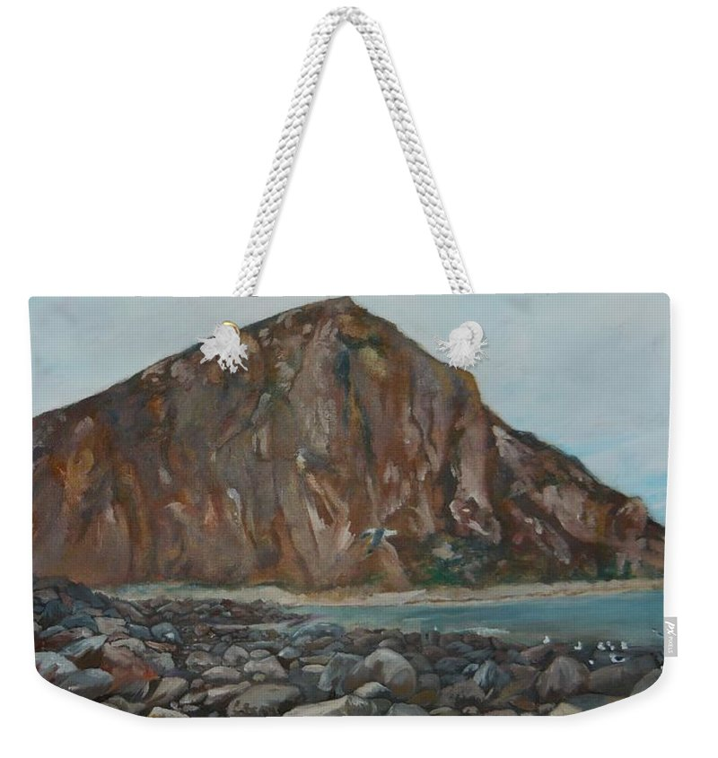 Morro Bay Weekender Tote Bag featuring the painting Morro Rock by Travis Day