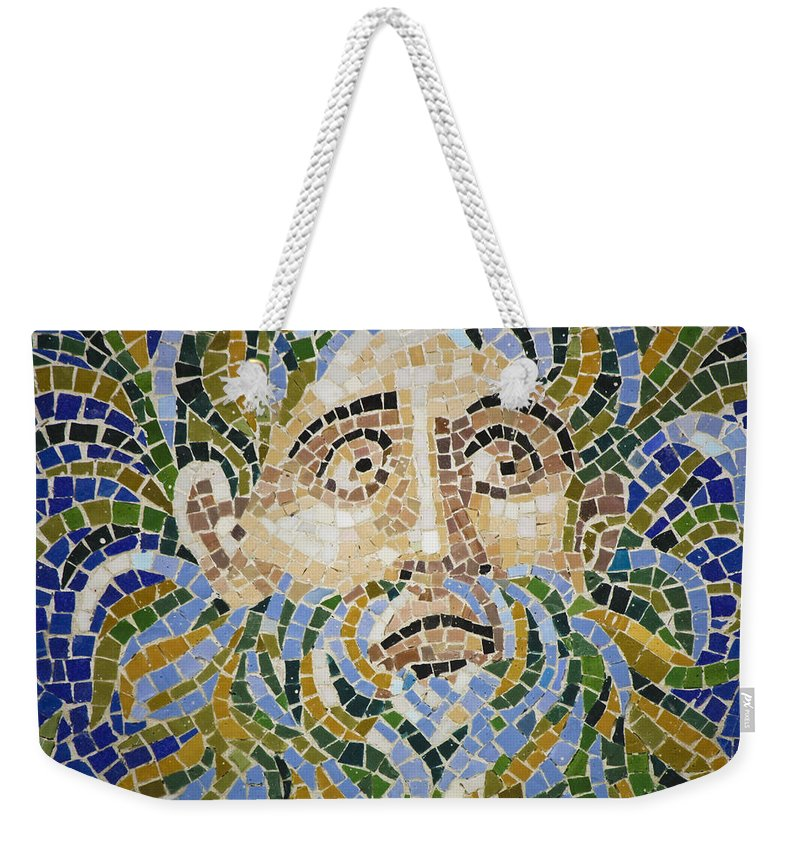 J Paul Getty Weekender Tote Bag featuring the photograph Mosaic Face Fountain Detail by Teresa Mucha