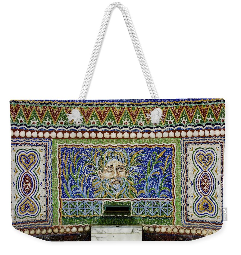 J Paul Getty Weekender Tote Bag featuring the photograph Mosaic Fountain At Getty Villa 3 by Teresa Mucha