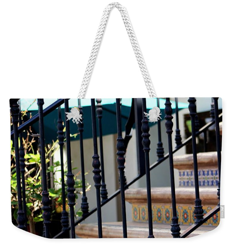 Mosaic Staircase Weekender Tote Bag featuring the photograph Mosaic Tile Staircase In La Quinta California Art District by Colleen Cornelius