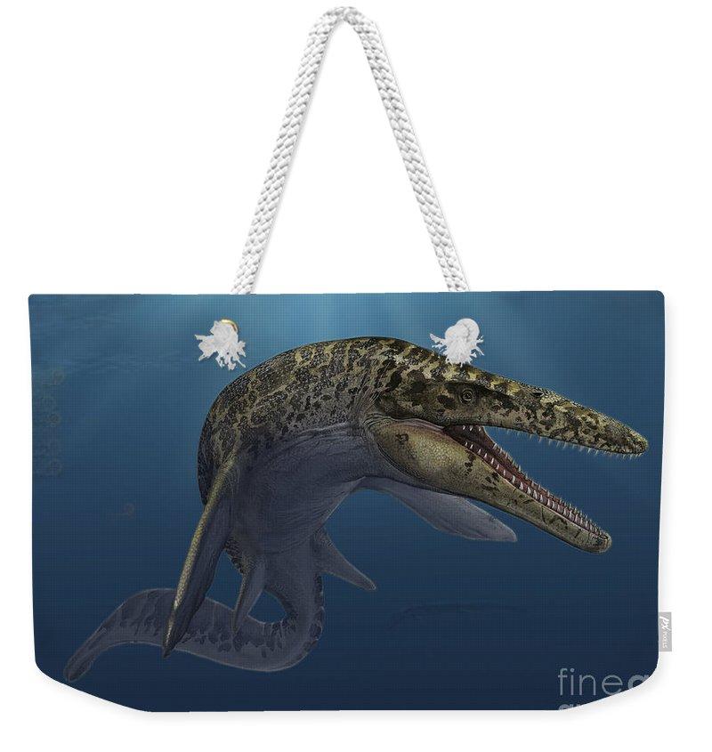 Horizontal Weekender Tote Bag featuring the digital art Mosasaurus Hoffmanni Swimming by Sergey Krasovskiy