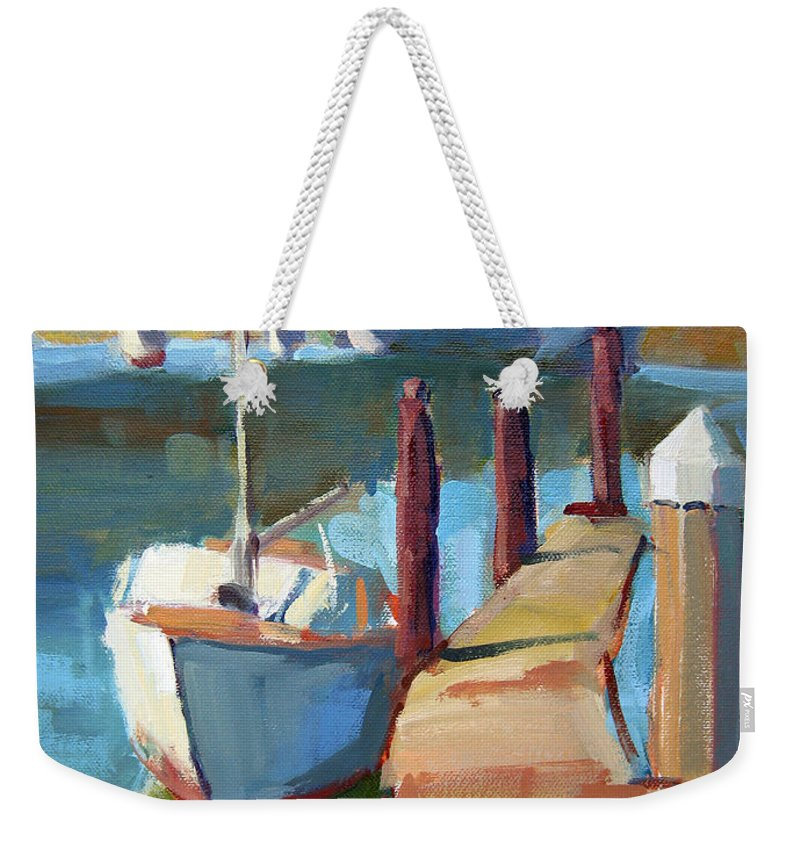 Boat Weekender Tote Bag featuring the painting Moss Landing Morning by Sandra Smith-Dugan