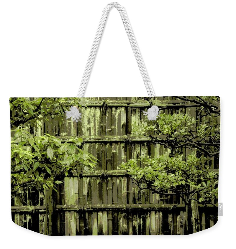 Moss Weekender Tote Bag featuring the photograph Mossy Bamboo Fence - Digital Art by Carol Groenen