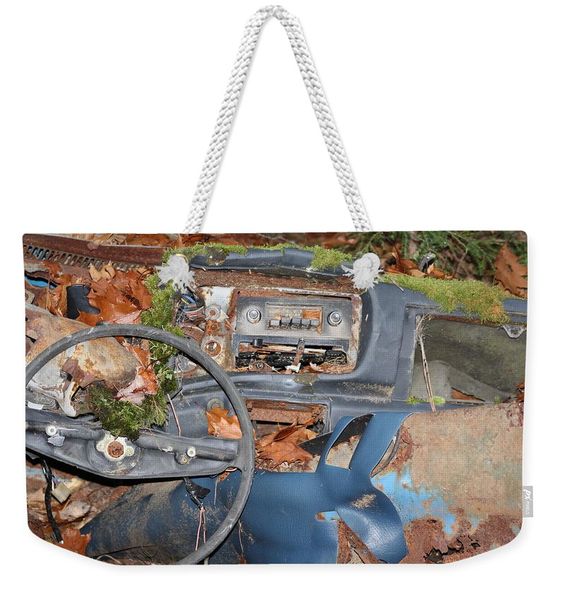 Car Weekender Tote Bag featuring the photograph Mossy Datsun by Modern Art