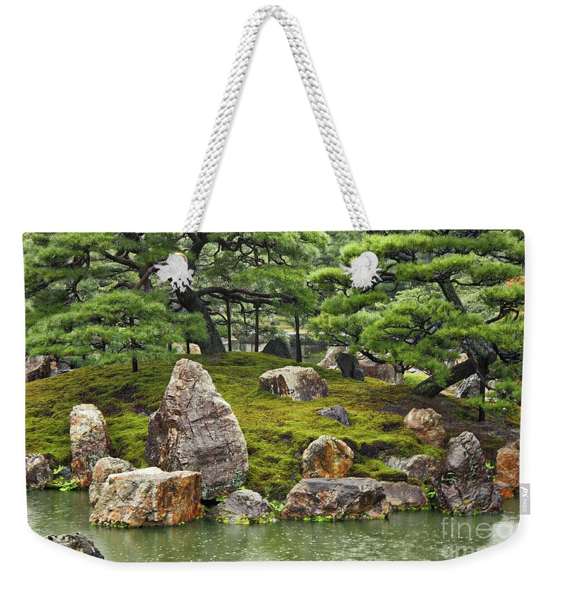 Japanese Garden Weekender Tote Bag featuring the photograph Mossy Japanese Garden by Carol Groenen