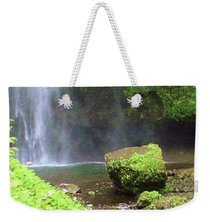 Mossy Rock Weekender Tote Bag featuring the painting Mossy Rock by Methune Hively
