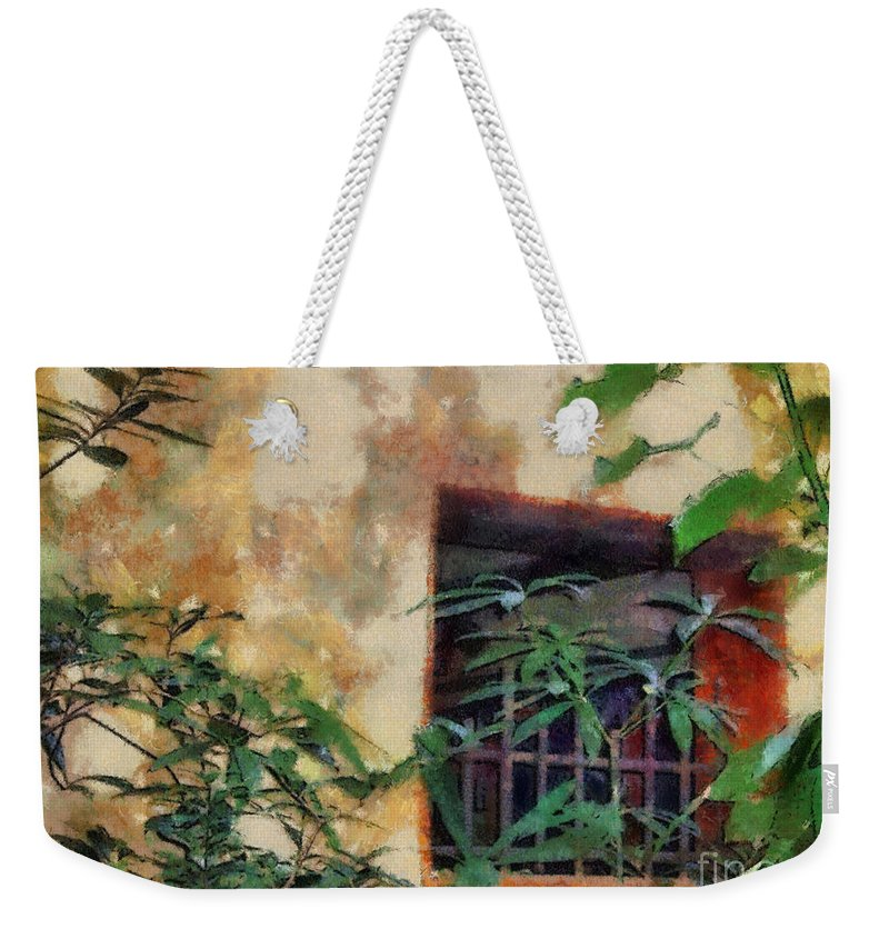 Moss Weekender Tote Bag featuring the painting Mossy Wall by Paulette B Wright
