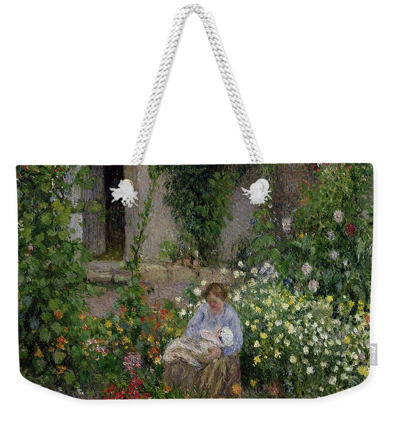 Mother Weekender Tote Bag featuring the painting Mother And Child In The Flowers by Camille Pissarro