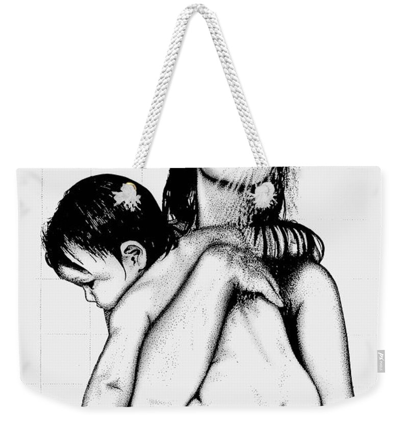 Mother And Child Weekender Tote Bag featuring the drawing Mother And Child by Larry Lehman