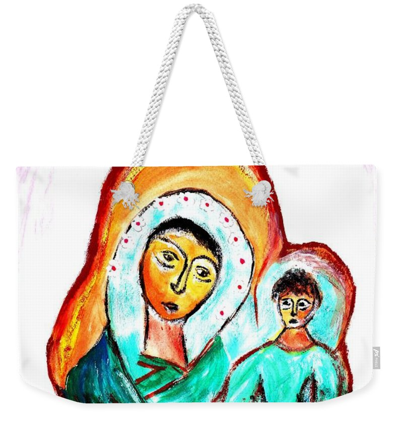 Mother Weekender Tote Bag featuring the painting Mother And Child by Ramona Matei