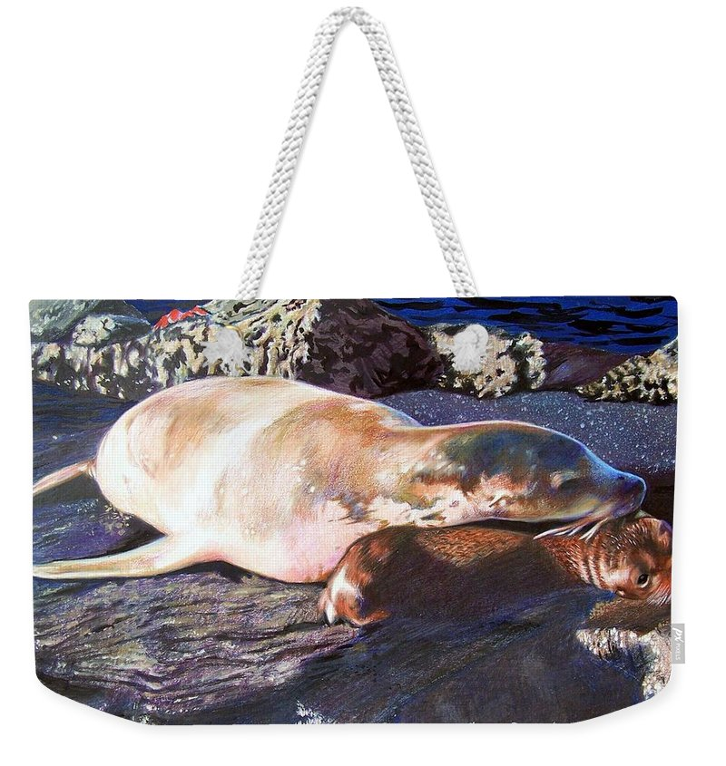 Sea Lion Weekender Tote Bag featuring the mixed media Mother And Child Sea Lion by Constance Drescher
