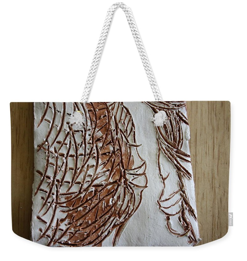 Jesus Weekender Tote Bag featuring the ceramic art Mother And Son - Tile by Gloria Ssali